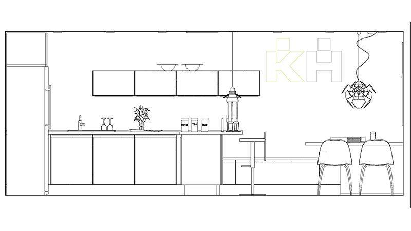 De una idea a una moderna cocina k chenhouse cocinas for Medidas de muebles en planta